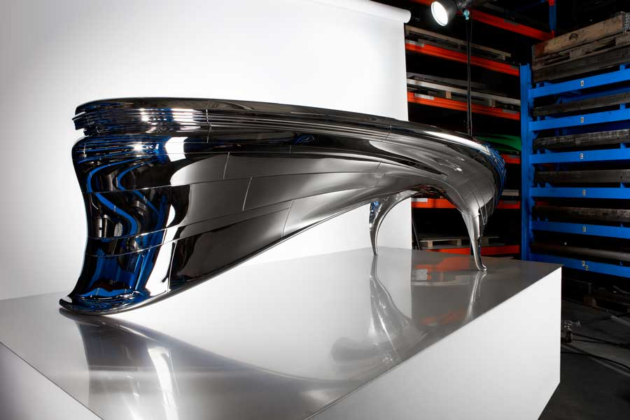 Hoogglans RVS designtafel