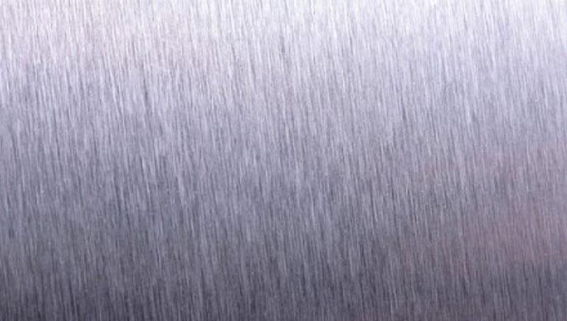 Een voorbeeld van een geborstelde roestvrijstalen oppervlak.