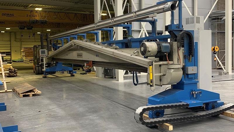 van de bestaande machines die verzet werd om plaats te maken voor de nieuwe machine.